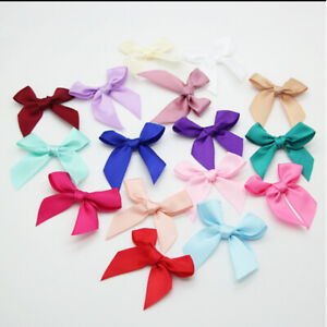 100 Satin Ribbon Rose Flower Applique Sewing Bow Craft White, Red, Pink, Beige