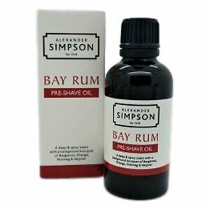 Pre Shave Oil Bay Rum - pre Shave Care Oil 50ml - Alexander Simpson England