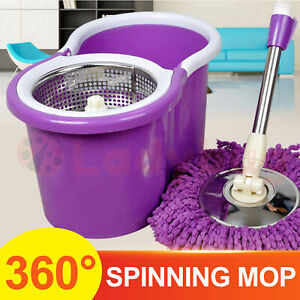 360° Spinning Mop Stainless Steel Bucket Easy Clean 2 Free Spin Mop Heads Wheel