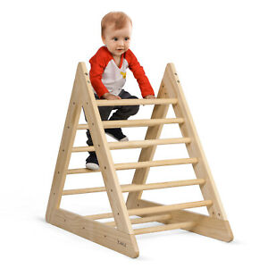 Kids Wooden Climbing Triangle Toddlers Climber Ladder Indoor Playground 100%Safe