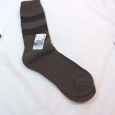 Mens Mid Calf 70% Rabbit Wool Thermal Socks Brown Black Stripes Size 10-15 F