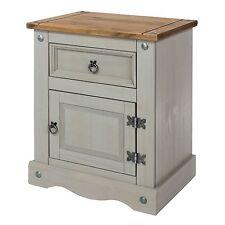 PREMIUM Corona Grey Washed-Effect Solid Pine 1 Door 1 Drawer Bedside Cabinet