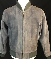 Men U2 Wear Me out Gray Sueded Leather Bomber Jacket Size M Medium Quilted Lined