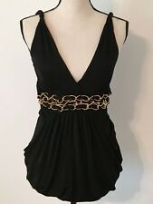 Bebe Tank Top Brown with Triple Gold Chain Size Small