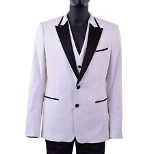 DOLCE & GABBANA RUNWAY Velvet Silk Tuxedo Blazer Jacket Vest White Black 06001