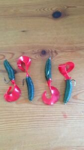 """sea fishing 4x 5"""" lures fat tail grub with 2/0 hooks cod,pollock"""