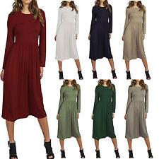 Ladies Womens Franki Long Sleeves Swing Flared Midi Skater Dress Top Plus Size