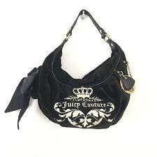 Juicy Couture Black Velvet Purse Handbag Hobo