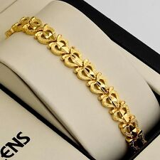 """Women Bracelet 7.3"""" Link Charms Jewelry 18K Yellow Gold Filled unique Chain"""