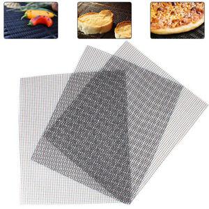 3x Grill Matten BBQ Grill Pad Unterlage Backmatte Antihaft Teflon Grill Mesh Net