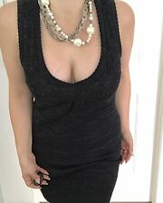 CUE WOMENS DRESS KNIT SLEEVELESS CHARCOAL WOOL ACRYLIC ABOVE KNEE SZ S