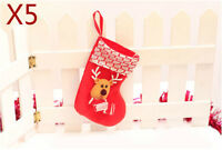 D7 Christmas Xmas Red 20CM Celebrate Gift Christmas Deer Socks Ornaments 5 Pcs