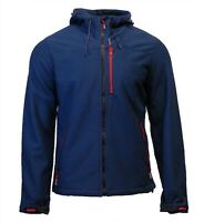 Superdry Mens New Hooded Windtrekker Jacket Coat Full Zip Navy Marl Feeder