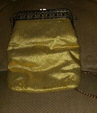GOLD COLORED CLUTCH Cocktail Purse HANDBAG gold trim  vintage