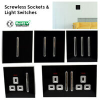 2Way Black Artistic Modern Glossy 10 Amp Screwless light switches & sockets 13A