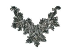 Sequin Bead Applique Belly Dance Motif Necklace Silver