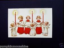 Vintage Erica Von Kager Brownie Xmas Greeting Card Angels & Chore Boys Singing