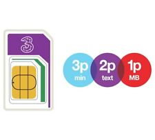 2 X Three (3) Pay as You Go a SIM Card - 3p Min 2p Text & 1p MB