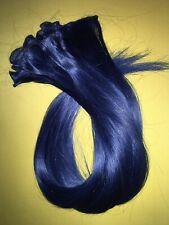 6tlg. Echthaar Haare glatt blau für clip-in/Perücke/einflechten 70 cm Extensions