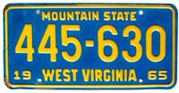 Classic West Virginia 1965 License Plate for Muscle Car Ford Chevy MOPAR Pontiac