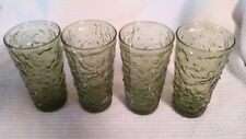 """Vintage Green Lido Milano Glass Tumblers Molded Texture 5 1/2"""" Set of 4"""