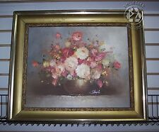 Original Stemple Oil On Canvas Flower Vase Still Life Painting Impasto Signed