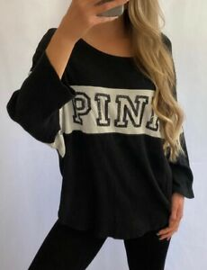 PINK Victoria's Secret VS Black White Bling Sequin 3/4 Sleeve Top Shirt L Large