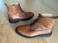RRP €400 Men BELSTAFF Real Rubber leather brown boots shoes UK 9 EU 43