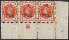 Queen Victoria 1888 I R OFFICIAL ½d Control B Strip of 3 Mint SG O13 faults