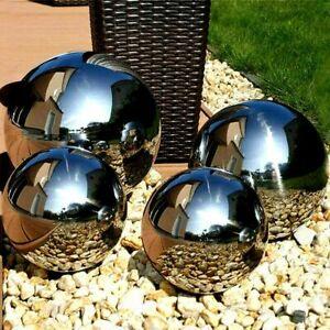 Set of 4 Silver Mirror Garden Spheres Stainless Steel Gazing Balls 20,10,15CM