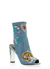 NEW Cape Robbin Women's Denim Embroidered Cut Out High Heel Booties Size 5.5