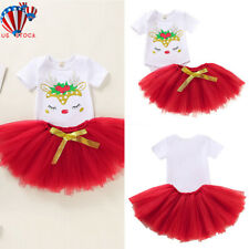 Newborn Baby Kid Girl Jumpsuit Romper Bodysuit+Tutu Skirts Dress 2pcs Outfits Us