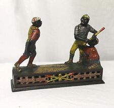 Antique Cast Iron Baseball Mechanical Bank Darktown Battery