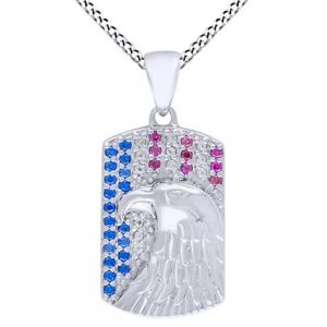 Sapphire & Topaz Dog Tag Pendant 14k White Gold Over Sterling Silver