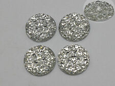 50 Clear Flatback Resin Round Cabochon Gems Pyramid Dotted Rhinestone 16mm
