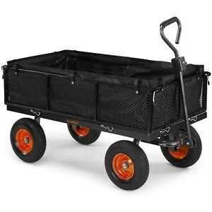 VonHaus 600kg Mesh Garden Cart with Lining - Heavy Duty 4 Wheeled Trailer
