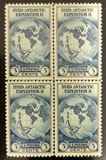 SCOTT #753 3c BLUE, CENTERLINE BLOCK OF 4, MNH, XF, CAT $75 - APS MEMBER
