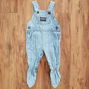 Vintage Oshkosh B'gosh Blue Striped Footie Overalls Size 3-6mo Made in the USA