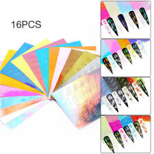 16 Sheets Holo Leaf Nail Sticker Hollow Stickers Stencil Nail Art Decal