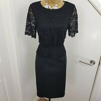 Phase Eight Dress Midi Pencil Stretch Lace Party Occasion Black Size UK 10