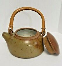 Glazed TEA POT Studio Art Pottery Kettle Brown Bamboo Wood Handle ARTIST SIGNED