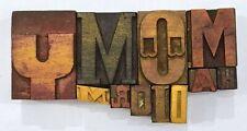 Letterpress Letter Wood Type Printers Block Lot Of 11 Typography Eb 210