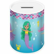 Mermaid Girls Coins Money Tin Box Piggy Bank Novelty Savings Coin Jar Counting