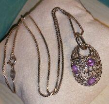 Ross Simons sterling silver Africa Amethyst Flower/Leaf/Leaves pendant necklace