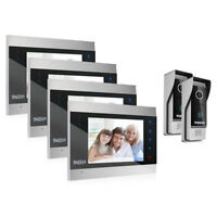 "TMEZON 7"" LCD Video Door Phone Doorbell Intercom System Touch Button 4 Monitors"