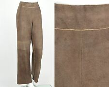 CHANEL BROWN GENUINE STAG DEERSKIN SUEDE LEATHER PANTS Size 36 1998 C CRUISE