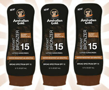 3 Australian Gold SPF 15 Sunscreen Lotion with Instant Bronzer 8 OZ EXP 10/22