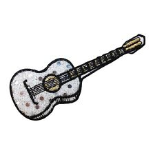 ID 9174 Shiny Guitar Musical Instrument Metallic Thread Iron On Applique Patch