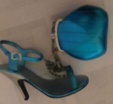 Teal Blue Spike High Heel Sling Back w/matching Handbag/Purse Ornaments