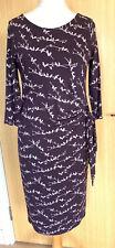 Laura Ashley Ladies Dress 14 Day Smart Work Jersey Birds Floral Flattering